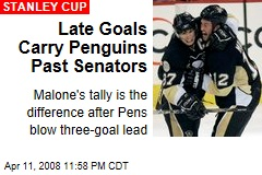Late Goals Carry Penguins Past Senators