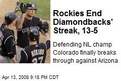 Rockies End Diamondbacks' Streak, 13-5