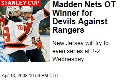 Madden Nets OT Winner for Devils Against Rangers