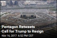 Pentagon Retweets Call for Trump to Resign