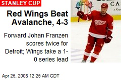Red Wings Beat Avalanche, 4-3