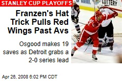 Franzen's Hat Trick Pulls Red Wings Past Avs