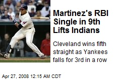 Martinez's RBI Single in 9th Lifts Indians