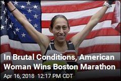 In Brutal Conditions, American Woman Wins Boston Marathon