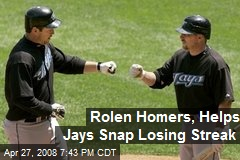 Rolen Homers, Helps Jays Snap Losing Streak