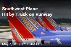 Pickup Truck Strikes Southwest Plane at Airport