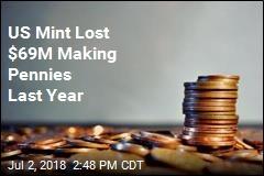 US Mint Lost $69M Making Pennies Last Year