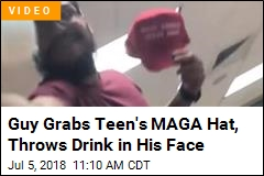Guy Grabs Teen's MAGA Hat, Throws Drink in His Face