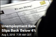 Unemployment Rate Slips Back Below 4%