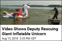 Deputy Rescues Giant Inflatable Unicorn Stuck in Lake