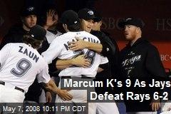 Marcum K's 9 As Jays Defeat Rays 6-2