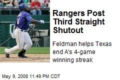Rangers Post Third Straight Shutout