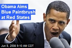 Obama Aims Blue Paintbrush at Red States