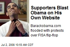Supporters Blast Obama on His Own Website