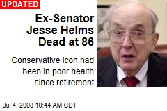 Ex-Senator Jesse Helms Dead at 86