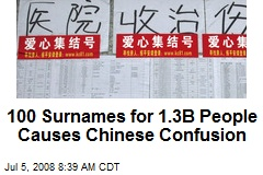100 Surnames for 1.3B People Causes Chinese Confusion