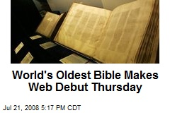 World's Oldest Bible Makes Web Debut Thursday