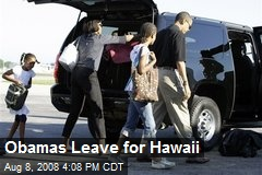 Obamas Leave for Hawaii