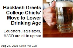 Backlash Greets College Chiefs' Move to Lower Drinking Age