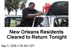 New Orleans Residents Cleared to Return Tonight