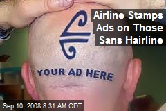 Airline Stamps Ads on Those Sans Hairline