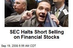 SEC Halts Short Selling on Financial Stocks
