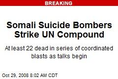 Somali Suicide Bombers Strike UN Compound
