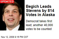 Begich Leads Stevens by 814 Votes in Alaska