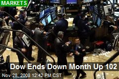 Dow Ends Down Month Up 102