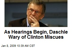 As Hearings Begin, Daschle Wary of Clinton Miscues