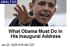 What Obama Must Do in His Inaugural Address