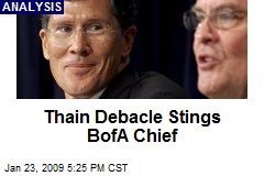 Thain Debacle Stings BofA Chief