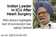 Indian Leader in ICU After Heart Surgery