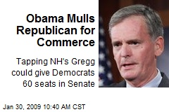 Obama Mulls Republican for Commerce