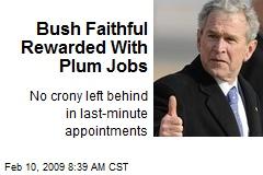 Bush Faithful Rewarded With Plum Jobs
