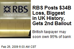 RBS Posts $34B Loss, Biggest in UK History, Gets 2nd Bailout