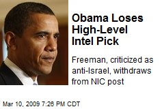 Obama Loses High-Level Intel Pick