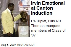 Irvin Emotional at Canton Induction