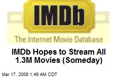 IMDb Hopes to Stream All 1.3M Movies (Someday)