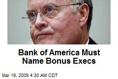 Bank of America Must Name Bonus Execs