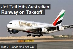 Jet Tail Hits Australian Runway on Takeoff