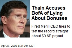 Thain Accuses BofA of Lying About Bonuses