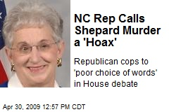 NC Rep Calls Shepard Murder a 'Hoax'