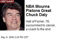 NBA Mourns Pistons Great Chuck Daly