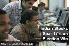 Indian Stocks Soar 17% on Election Win