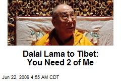 Dalai Lama to Tibet: You Need 2 of Me