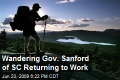 Wandering Gov. Sanford of SC Returning to Work