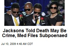 Jacksons Told Death May Be Crime, Med Files Subpoenaed