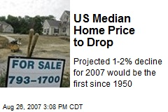 US Median Home Price to Drop