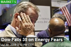 Dow Falls 35 on Energy Fears